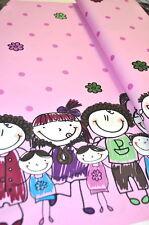 Family bordure retro famille enfants 0,5m x 1,40m peint dessin papa maman B
