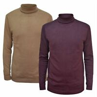 NEW Ex River Island Mens Aubergine Rib Trim Roll Neck Fine Knit Jumper
