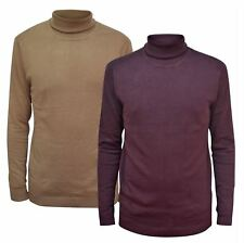 Ex River Island Mens Deep Burgundy Aubergine Rib Trim Roll Neck Fine Knit Jumper