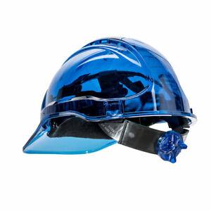 Portwest PV60 Peak View Vented Ratchet Work Hard Hat in Translucent Hi Vis ANSI