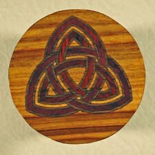 """All Natural Wood """"Celtic Knot"""" Marquetry Inlay Coffee Coaster 3-1/2"""" (C-7)"""