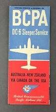BCPA DC-6 SLEEPER SERVICE TIMETABLE DECEMBER 1950 BRITISH COMMONWEALTH PACIFIC