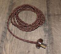 BROWN ~ 8' Vintage Lamp Cord ~ Twisted Cloth Covered ~ Vintage Style Acorn Plug