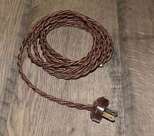 BROWN ~ 8' Vintage Lamp Cord ~ Twisted Cloth Covered ~ Vintage Style Acorn Plug