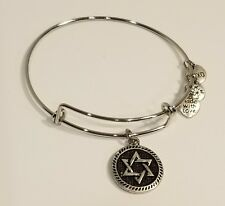 Rhodium Plated 2 Sided Star of David Charm Bangle Bracelet
