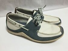 Cole Haan Loafers Men's 8.5M Blue White Suede Leather Boat Deck Yacht Club Shoes