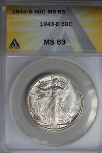 1943-D  .50   ANACS  MS 63  Walking Liberty, Half Dollar, Lady Liberty Half