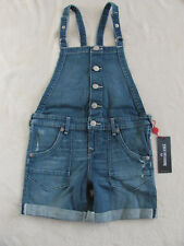 True Religion Boyfriend Cut Off Overall Shorts -Peace- Large (12-14) NWT $79
