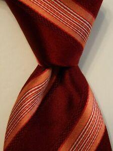 HUGO BOSS Men's 100% Silk Necktie ITALY Designer Luxury STRIPED Wine/Pink EUC