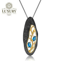 Natural London Blue Topaz Handmade Solid 925 Silver Branch Pendant Necklace