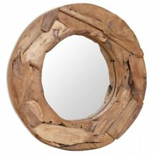 Wooden Mirror Round Teak Wood Hallway Bathroom Decor Glass Rustic Style 60cm