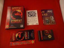 Mortal Kombat I (Sega Genesis, 1993) COMPLETE w/ Box manual game WORKS! Combat 1