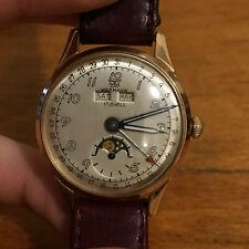 Rare Wakmann Britix Triple Date Moon Phase 17j Men's Working Wristwatch 180-c