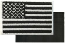 AMERICAN FLAG MOTORCYCLE VEST BIKER PATCH BLACK WHITE Embroidered VELCRO® AFV2