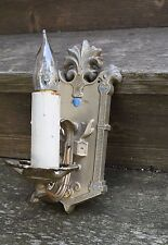 antique vintage Tudor single candle sconce pair