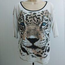 Flair Women Shirt Large Black Animal Print Cheetah Eye Graphic Top Half Sleev D4