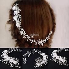 Nuevo Flor nupcial de la boda Cristal Diamante perlas peine de pelo peine