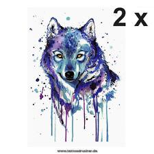 2 x buntes Wolf XL Tattoo - Wasserfarben Blau - Body Temporary Tattoo - KM105-2