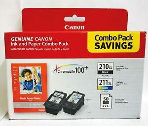 New Genuine Canon PG-210XL Black & CL-211XL Color w/ 50 Photo Paper In Box