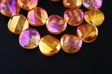 10pcs Gold Rose Glass Crystal Twist Tile Beads 14mm Spacer Jewelry Findings New