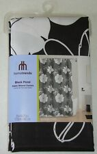"""New Hometrends Black & White Floral Fabric Shower Curtain 70"""" Wide X 71"""" Long"""