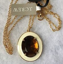 NWT  J CREW 100% AUTHENTIC Jeweled Enamel IN Almond Biscot Pendant NECKLACE