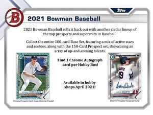 2021 Bowman Baseball Factory Sealed Hobby Box Presale 04/28