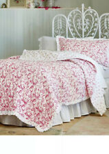 New Simply Shabby Chic Country Floral Paisley Red White Twin Quilt & Sham