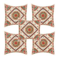 5 PC Cream Hand Work With Mirror Cushion Cover Pillow Case Sofa Bed Home Decor