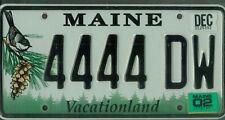 "MAINE passenger 2002 license plate ****QUADRUPLE ""4444""****"