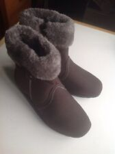 Ladies Brown Fur Lined Zipped Ankle Boots Size 4 New Shop Clearance