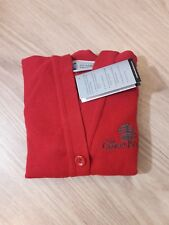 The Cedars School Red Cardigan par BALMORAL taille 24 avec Logo Neuf