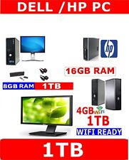 DELL /HP COMPUTER PC DUO CORE AMD DESKTOP TOWER TFT MONITOR WINDOWS 10 ,7 ,XP