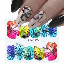 Nail Art Water Decals Stickers Transfers Spring Summer Flowers Floral Petals 890
