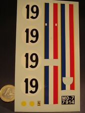 DECALS 1/18 FERRARI 250 GTO #19 - T382