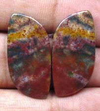 NATURAL BLOOD STONE CABOCHON FANCY SHAPE PAIR 22.10 CTS LOOSE GEMSTONE D 5804