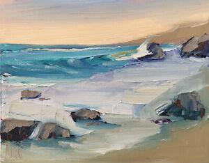 PACIFIC COAST FOUR Original Expression Seascape Ocean Painting 8x10 021419 KEN