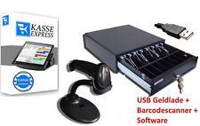 Kassen-Set: USB Kassenlade + Barcodescanner + KASSENSOFTWARE für Einzelhandel