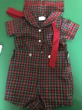 BOYS C I CASTRO & CO sz 9M RED  WHITE Plaid Sailor 2 pc BUTTON ON OUTFIT EXc