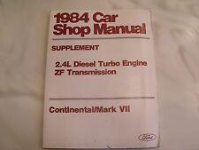 1984 Continental Mark Vii Car Shop Manual Supplement