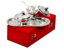 Indian Designer Silver Plated Brass Serving Bowl Set For Home Decor Set Of 2