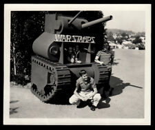 WAR STAMPS ARMY TANK STATUE & STAMP COLLECTOR BOYS~ 1942 VINTAGE SNAPSHOT PHOTO