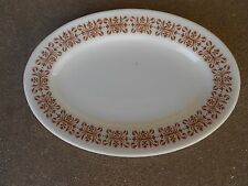 "Vintage Pyrex Tableware Copper Filigree 11 3/4"" OVAL SERVING PLATTER Corning USA"
