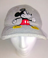 Hat DISNEY BALL CAP Mickey Mouse Embroidered Grey Gray Adjustable Size