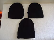 "Lot Of 3 "" NWOT "" Black Taboggans / Beanie Hats "" GREAT LOT """