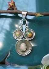 Cara Ojos äthiopischer Ópalo Piedra des OCTUBRE bañado en oro colgante plata 925