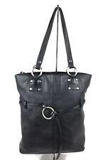 Hobo International Leather Handbag Black Tote Purse Shoulder Bag Silver Accents