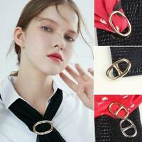 Women Buckle Holder Clip Scarves Silk Brooch Scarf Party Ring Jewelry I6H5