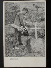 Military: German, ALLERSEELEN Man standing by Grave Old RP Postcard