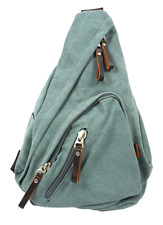 Canvas One Strap Sling Bag with Leather Trim for Men & Women - Sage Green